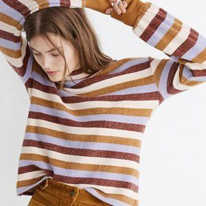 Madewell S Bubble Sleeve Striped Mock Neck Top